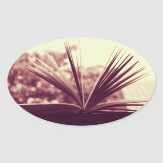 Open Book Photograph Oval Sticker
