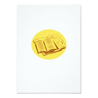 Open Book Trail Map Oval Woodcut Card