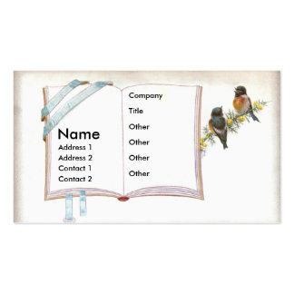 Open Book With Tiny Birds Business Card Templates