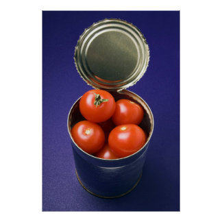 Open can with whole tomatoes print