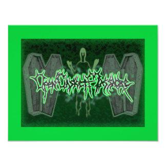 "Open Casket Massacre Invitations 4.25"" X 5.5"" Invitation Card"