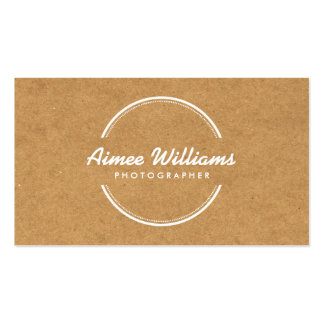 OPEN CIRCLE LOGO on TAN CARDBOARD Business Cards