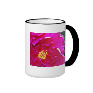 Open Dark Pink Peony Ringer Mug