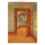 Open door sunny impressionist interior Anna Ancher Greeting Card