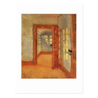 Open door sunny impressionist interior Anna Ancher Postcard