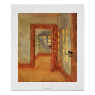 Open door sunny impressionist interior Anna Ancher Poster
