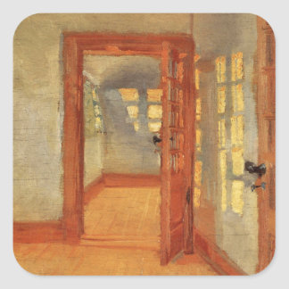 Open door sunny impressionist interior Anna Ancher Square Sticker
