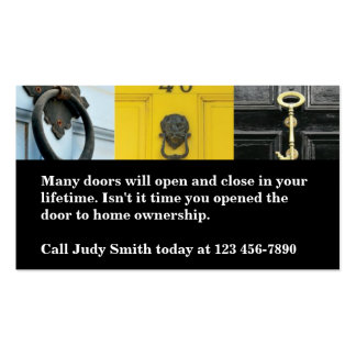 Open Door To Home Ownership Real Estate Business Card Templates