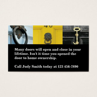 Open Door To Home Ownership Real Estate Business Card