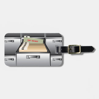 Open Drawer with Top Secret File Bag Tag