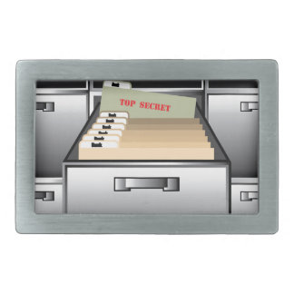 Open Drawer with Top Secret File Belt Buckle