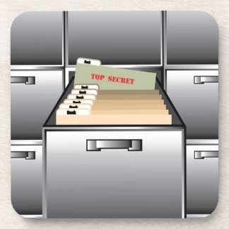 Open Drawer with Top Secret File Beverage Coaster