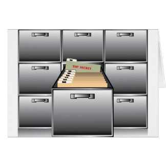 Open Drawer with Top Secret File Card