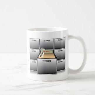 Open Drawer with Top Secret File Coffee Mug