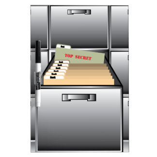 Open Drawer with Top Secret File Dry-Erase Board