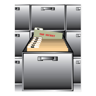 Open Drawer with Top Secret File Postcard