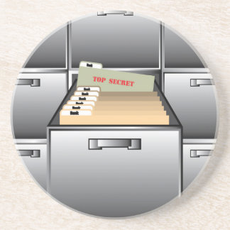 Open Drawer with Top Secret File Sandstone Coaster