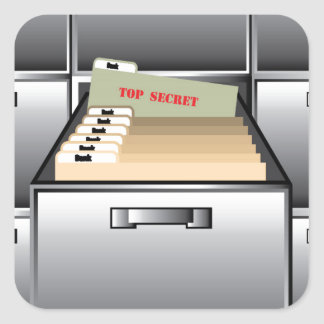 Open Drawer with Top Secret File Square Sticker