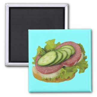 Open Faced Sandwich 2 Inch Square Magnet