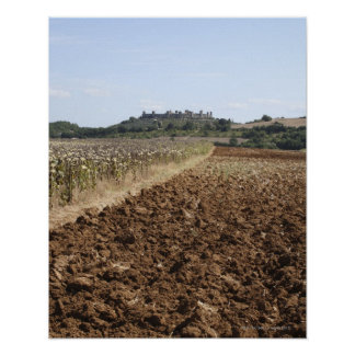 Open Field, Townscape in the Background, Poster