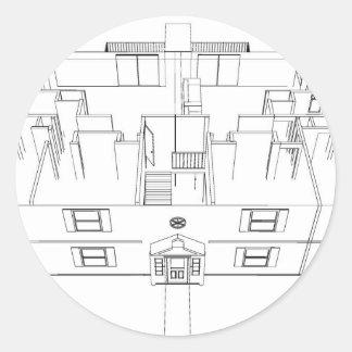 Open Floorplan Drawing: Classic Round Sticker