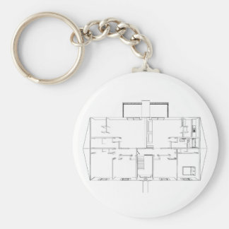Open Floorplan Drawing: Basic Round Button Keychain