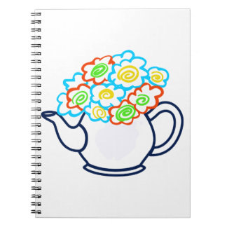 OPEN FLORAL TEAPOT NOTE BOOK