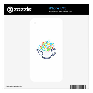 OPEN FLORAL TEAPOT SKINS FOR THE iPhone 4S