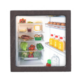 Open fridge filled with food keepsake box