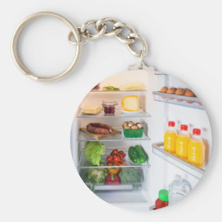 Open fridge filled with food keychain