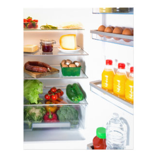 Open fridge filled with food letterhead