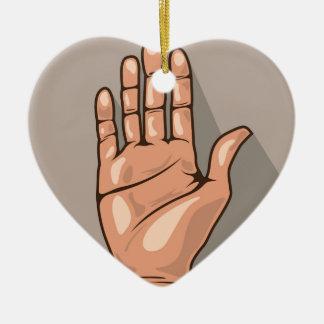 Open hand vector ceramic ornament