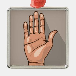 Open hand vector metal ornament