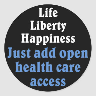 Open healthcare access 2 classic round sticker