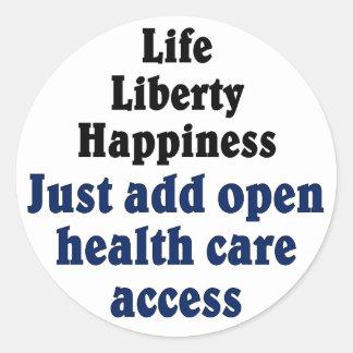 Open healthcare access classic round sticker