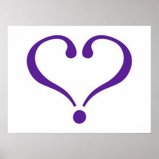 Open heart in purple for Valentine's Day love Print