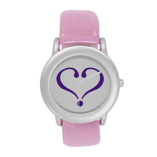Open heart in purple for Valentine's Day love Reloj De Mano