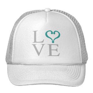 """Open heart """"LOVE"""" corazón abierto en gris y verde Gorros Bordados"""