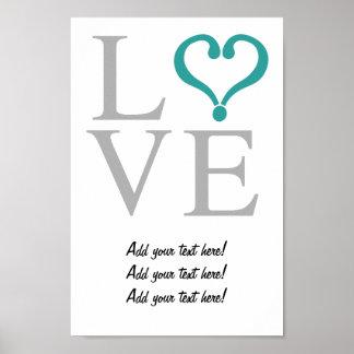 """Open heart """"LOVE"""" corazón abierto en gris y verde Impresiones"""