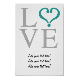 Open heart LOVE corazón abierto en gris y verde Impresiones