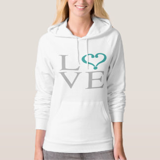 "Open heart ""LOVE"" heart opened in green gray and Hoodie"
