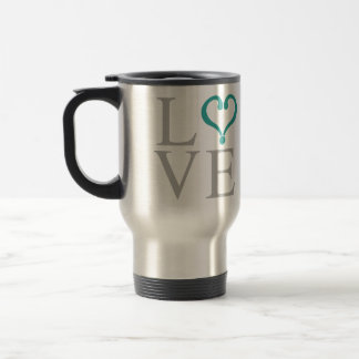 """Open heart """"LOVE"""" heart opened in green gray and Travel Mug"""