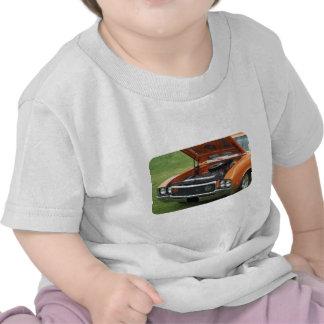 Open hood of an orange four headlight classic car t-shirt