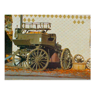 Open horse drawn carriage postcard