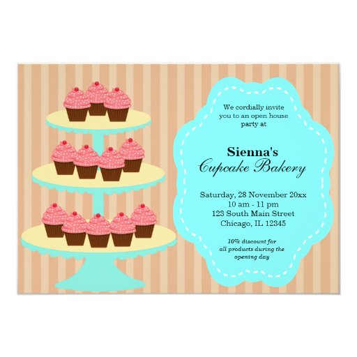 Open House Bakery business 5x7 Paper Invitation Card | Zazzle