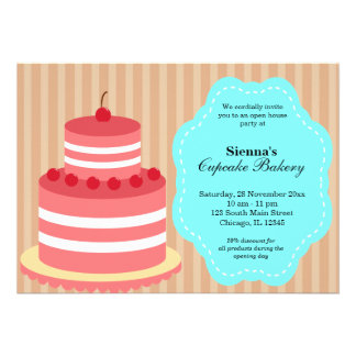 Open House Bakery business Personalized Invites