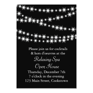 Open House Black Twinkle Lights 5x7 Paper Invitation Card