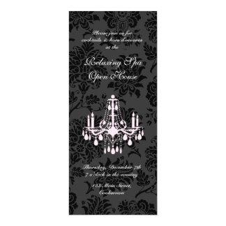 Open House Black Victorian Damask 4x9.25 Paper Invitation Card