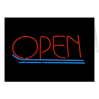 Open House Business Neon Sign on Black Background Greeting Cards