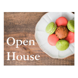 Open House Dessert Macaroons Wooden Background Postcard